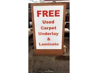 FREE USED Carpet, Underlay & Laminate
