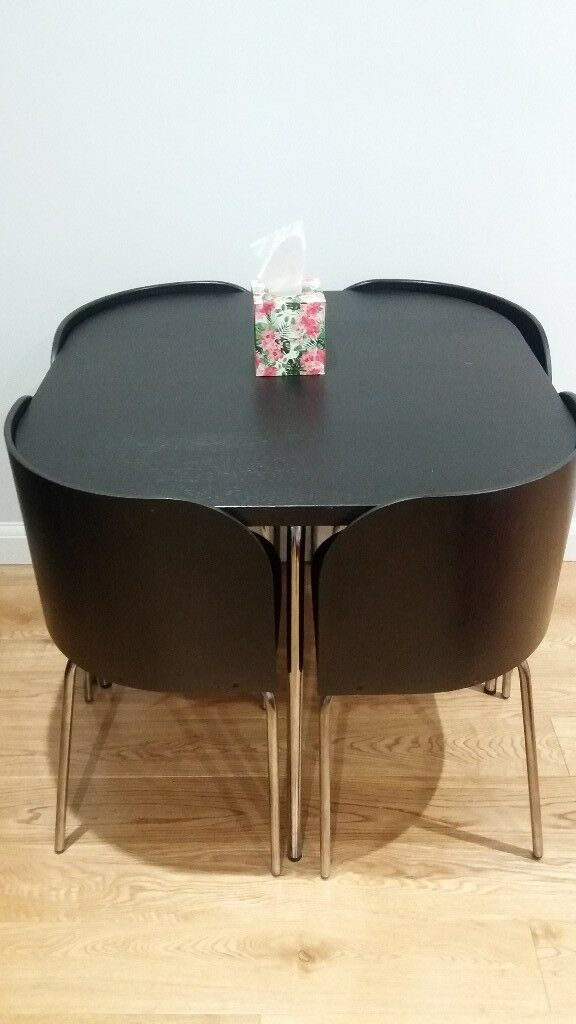 dining table and 4 chairs ikea fusion space saver dark brown