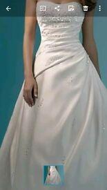Wedding dress and veil. And bridesmaid dress