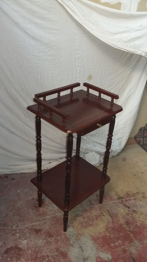 mahogany wood phone stand with drawer at the top