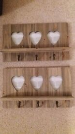 Wooden Key Hanger with 3 heart picture holders