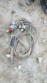 Gas welding torch and hoses and guages