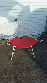 Retro red leather and metal chair
