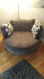 DFS 3 Seater couch and swivel chair
