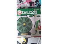 Flat hose with nozzle spray gun 50 feet