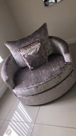 Mink crushed velvet 3seater and cuddle chair sofa, immaculate condition only bought 14months ago