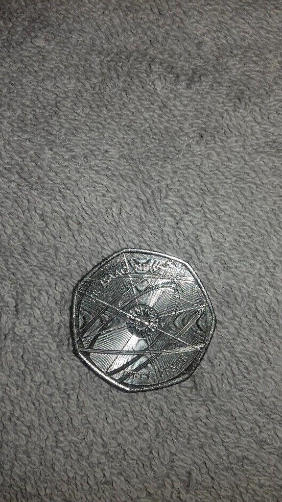 Sir Issac Newton 50p coin