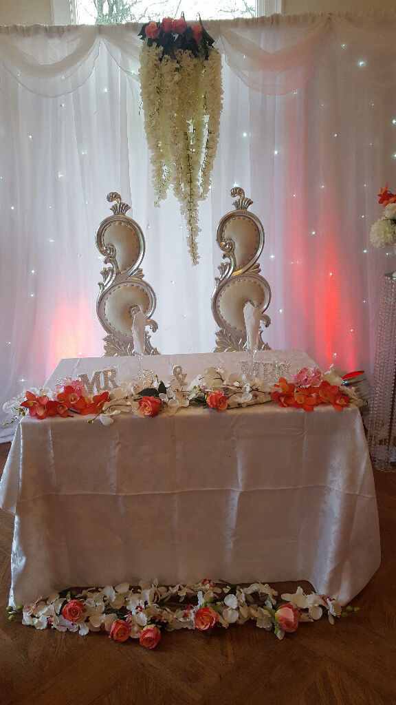 Wedding decorations throne chairs centrepieces flower wall wedding decorations throne chairs centrepieces flower wall backdrop led dance floor mr mrs lights junglespirit Image collections