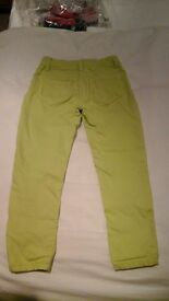 mini boden lime coloured jeans age 6yr girls