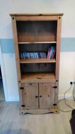 Antique pine unit with 3 shelves and cupboard