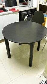 Round Wood Table & 4 Chairs (Black/White) - Like New - £100