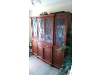 Reproduction display cabinet, possibly mahogany veneer, upper half glass doors