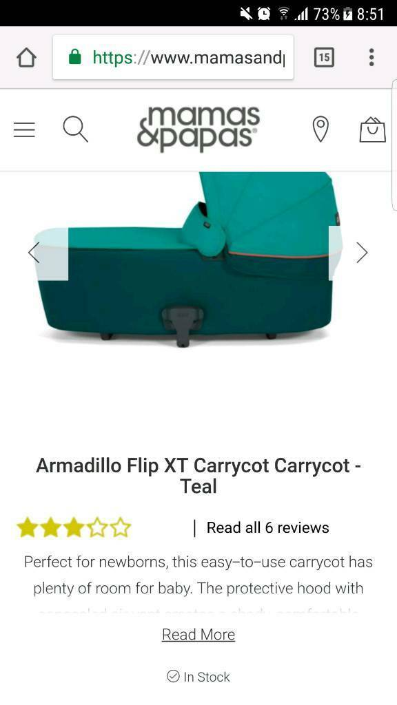 Armadillo Flip XT Carrycot Carrycot - Teal like new