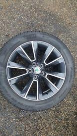 17 inch Matterhorn alloys black and chrome + tyres x 4 (ex Skoda Yeti)
