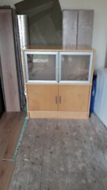 Wooden/glass sideboard cupboard - unsual/flower glass!! MUST GO BARGAIN ONLY £10!!