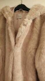 Hooded fur coat size 14 worn once as new George at Asda make