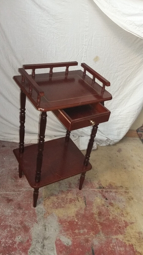 mahogany wood phone table with drawer at the top