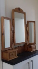 Solid pine triple arched mirror