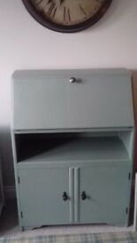 Beautiful vintage writing bureau in two shades of teal green