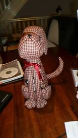 Cute Doggy Doorstop (red and cream checked)