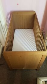 Child or baby's cot, with mattress if wanted