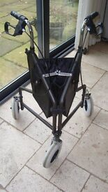Walking frame, tripod, three wheels, excellent condition