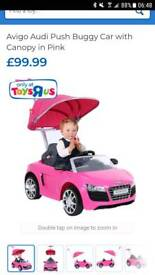 Pink audi r8 push along car with canopy