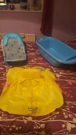 Baby bath, seat and swimming ring
