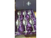 Edinburgh Crystal Six Cut Glass Wine Glasses Boxes Unused