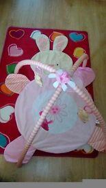 Pink rabbit play mat
