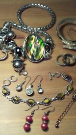 Silver costume jewellery bracelet, bangles, rings, earrings New & Vintage