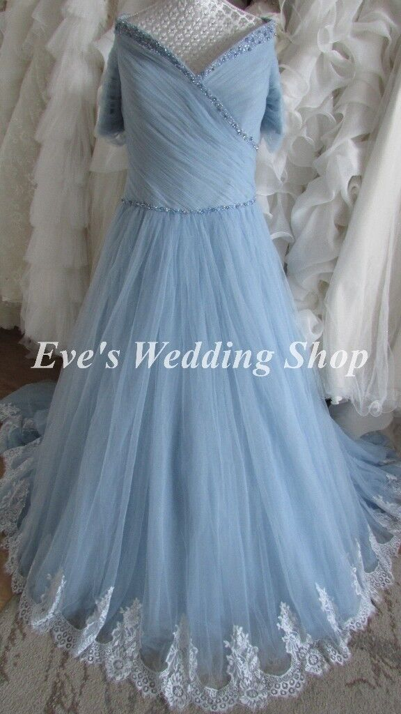 Beautiful blue off shoulder wedding dress UK size 16/18 | in South ...