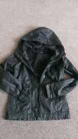 Black hooded wax/leather effect jacket