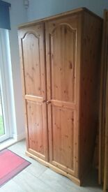 pine single bed frame ,wardrobe and chest of drawers