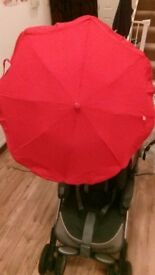 Red parasol to attach to pram/pushchair