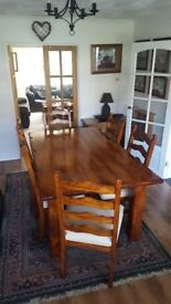 DINING TABLE AND 6 UPHOLSTERED CHAIRS. TABLE SIZE 180CM X 105CM. EXTREMELY GOOD CONDITION