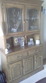 Sideboard / Glass Cabinet for sale. Medium Oak. Collection Only