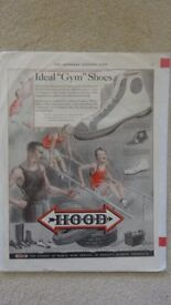 Vintage Original Advertisement Page for HOOD Ideal Gym Shoes - 1927