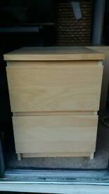 Ikea malm bedside drawers x2