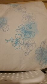 As new beige floral pairs curtains great condition