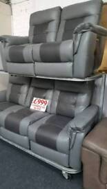 Dark grey and light grey 2 Tone electric reclining 3+2 seater sofa