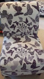 Pair of DFS Accent chairs ivory with purple butterfly pattern Excellent condition