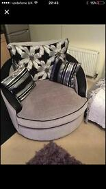 Grey and black swivel chair..
