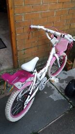 16 inch pink and white sparkle bike