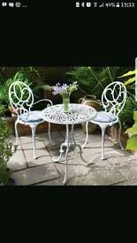 WANTED - METAL SHABBY CHIC GARDEN SET TABLE AND CHAIRS - ANYTHING CONSIDERED - FREE OR VERY CHEAP