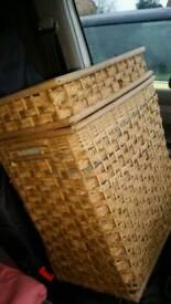Wicker style laundry basket £5