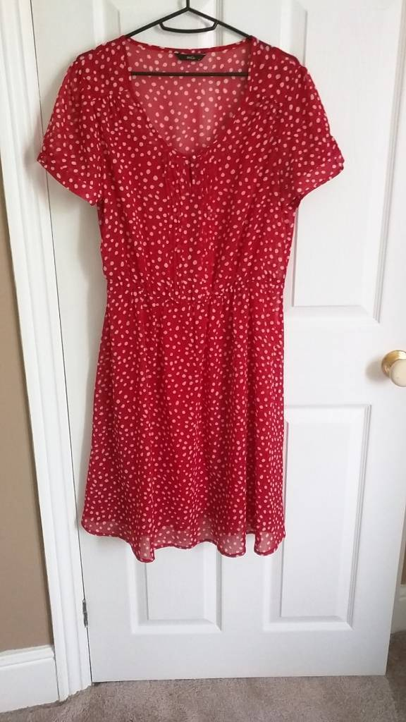 Red and white polka dot dress. M&Co, size 12.