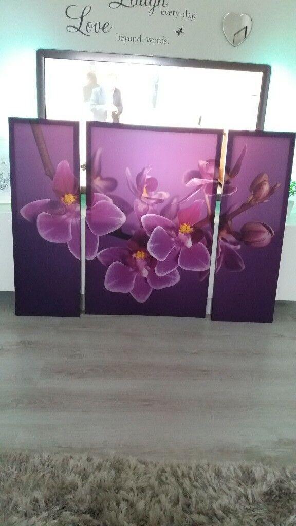 large purple flower 3 piece canvas