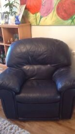 Blue leather reclining sofa and reclining chair few little marks with Wear good condition