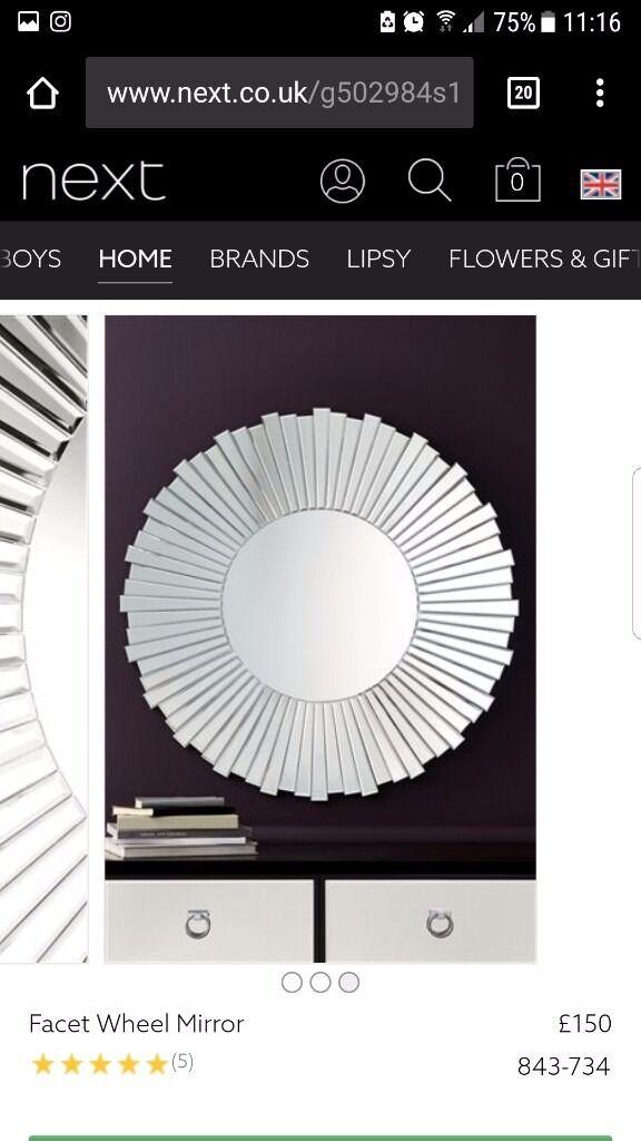 Next - Large Facet Wheel Mirror; 90cm
